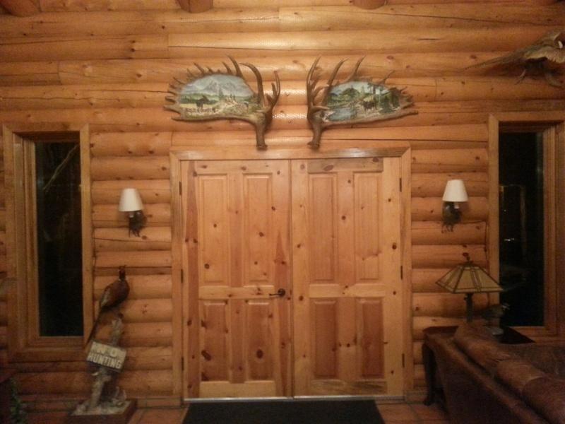 Artwork on moose antlers